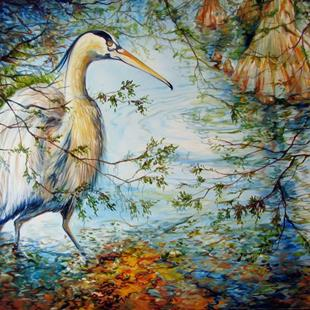 Art: COMMISSIONED GREAT BLUE HERON & CYPRESS TREES by Artist Marcia Baldwin