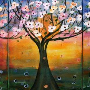 Art: FLOWERING TREES IN THE MOONLIGHT by Artist LUIZA VIZOLI