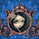 Art: Pale Green Eyes (with original Strangeling Frame) by Artist Jasmine Ann Becket-Griffith