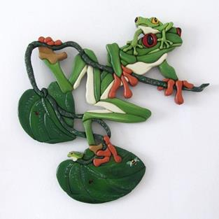 Art: FROG LAND HAND PAINTED INTARSIA by Artist Gina Stern
