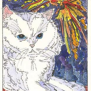Art: Kitty and the Haddonfield Fireworks by Artist Theodora Demetriades