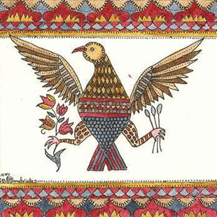 Art: FRAKTUR WITH THE AMERICAN EAGLE by Artist Theodora Demetriades