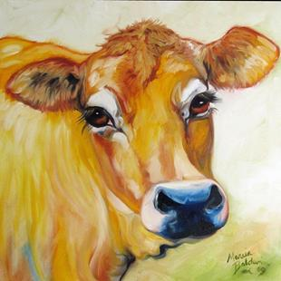 Art: THOSE EYES ~ JERSEY COW by Artist Marcia Baldwin