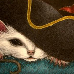 Art: WHITE RAT MICE MOUSE HALLOWEEN PIRATE HAT 4 by Artist Cyra R. Cancel