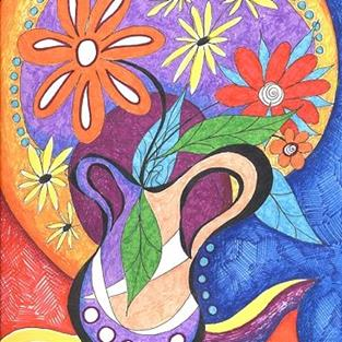 Art: Happy ~ Burst by Artist Christine Wasankari