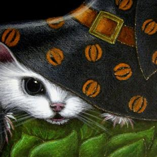 Art: *WHITE RAT MICE MOUSE HALLOWEEN WITCH HAT 7 by Artist Cyra R. Cancel