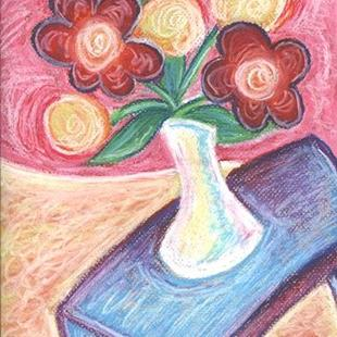 Art: Happy ~ White Vase by Artist Christine Wasankari