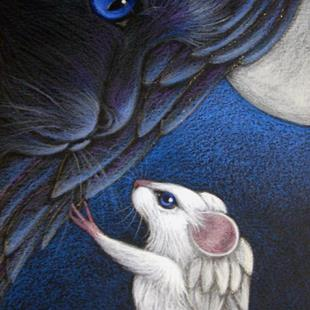 Art: ANGEL MOUSE & ANGEL CAT IN HEAVEN  by Artist Cyra R. Cancel