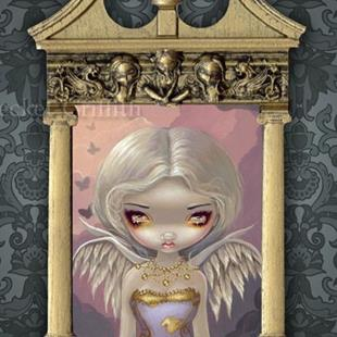 Art: Angel in Lilac - with original Strangeling Frame by Artist Jasmine Ann Becket-Griffith