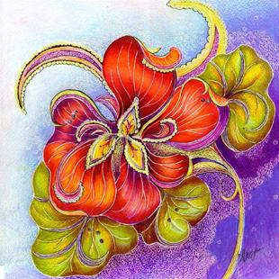 Art: Paisley Nasturtium by Artist Alma Lee