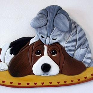 Art: FRIENDS' BEAGLE AND TABBY ORIGINAL PAINTED INTARSIA ART by Artist Gina Stern