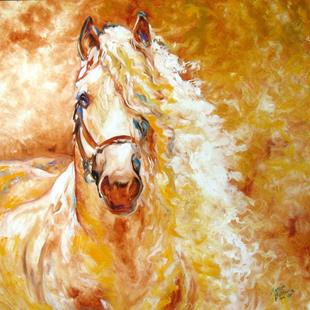 Art: GOLDEN GRACE ANDALUSIAN EQUINE ORIGINAL by Artist Marcia Baldwin