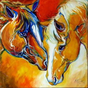 Art: CONCERNED ~ EQUINE ART by M BALDWIN by Artist Marcia Baldwin