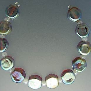Art: Title: 26 SILVER SPECIALTY GLASS JUNO; SHINY IRIDESCENT FINISH; ROUND BE by Artist Bonnie G Morrow