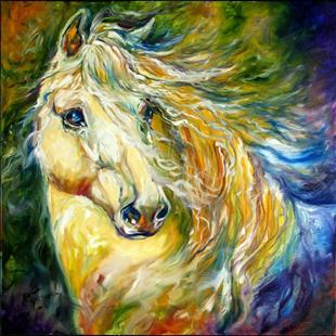 Art: EVERGREEN WIND an Equine Abstract the Andalusian by Artist Marcia Baldwin
