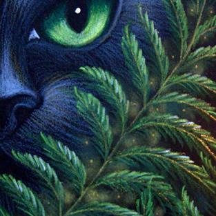 Art: BLACK CAT BEHIND THE FERNS 2 by Artist Cyra R. Cancel