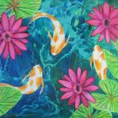 Art: Fantail Goldfish KOI Pond by Artist Ke Robinson