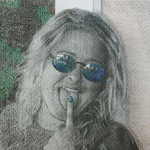 Art: Christie In Blue Glasses by Artist Sherry Key