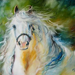 Art: WHITE CLOUD the ANDALUSIAN STALLION by Artist Marcia Baldwin