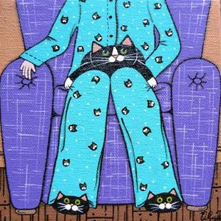 Art: cat pajamas or obsessed? by Artist S. Olga Linville