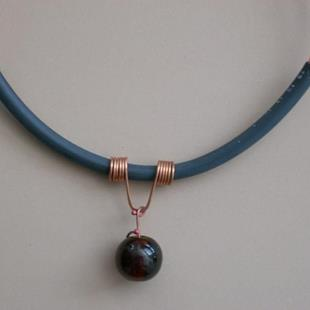 Art: Copper Marble Choker necklace by Artist Sherry Key