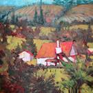 Art: RED ROOFS PASTORAL by Artist Pamela K Wilhelm