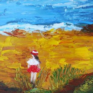 Art: A Walk on the Beach  by Artist LUIZA VIZOLI