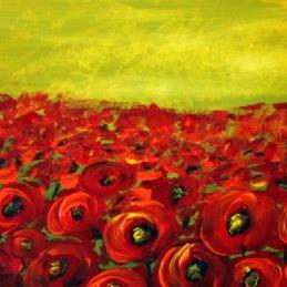 Art: Red Poppies Field  by Artist LUIZA VIZOLI