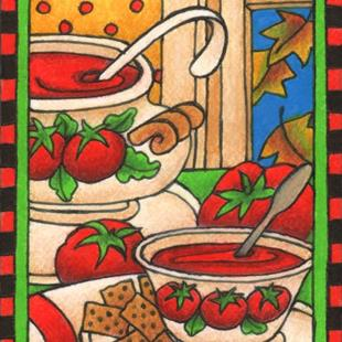 Art: Tomato Soup & Crackers (sold) by Artist Shelly Bedsaul
