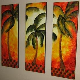 Art: Orange Palm Triptych -sold by Artist Ke Robinson