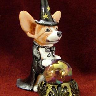 Art: Corgi Wizard & Crystal Ball by Artist Camille Meeker Turner