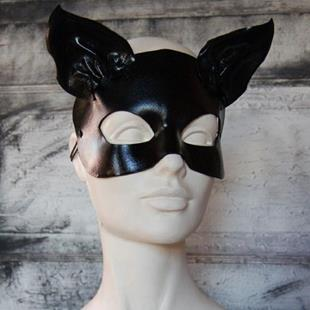 Art: Leather cat mask - Annabel by Artist Barbara Doherty (MidnightZodiac Leather)