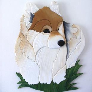 Art: LYMRIC' CORGI,.. ORIGINAL PAINTED INTARSIA ART by Artist Gina Stern