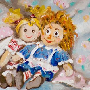 Art: Best Friends.Rag Dolls by Artist Delilah Smith