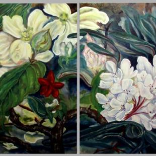 Art: Dogwood and Rhododendron by Artist Caroline Lassovszky Baker