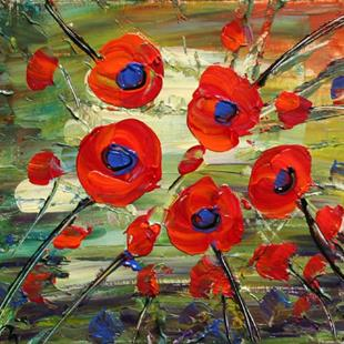 Art: RED POPPIES Oil Painting by Artist LUIZA VIZOLI