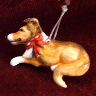 Art: Mini Collie Christmas Ornament by Artist Camille Meeker Turner