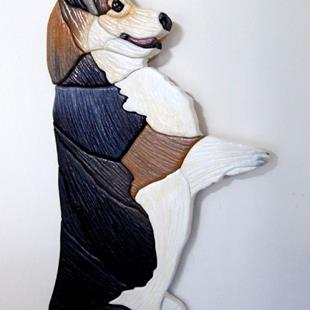 Art: CORGI TRI,,,,IT'S BACON..... ORIGINAL PAINTED INTARSIA ART by Artist Gina Stern