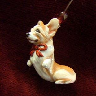Art: Mini-Ornament, Corgi #3, '09 by Artist Camille Meeker Turner