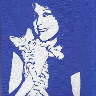 Art: Girl with Cat by Artist Ulrike 'Ricky' Martin
