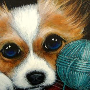 Art: PAPILLON PUPPY DOG - WOOL BALL by Artist Cyra R. Cancel
