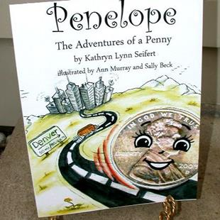 Art: Penelope the Adventures of a Penny childrens book by Artist Ann Murray