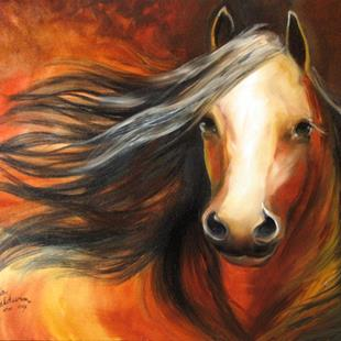Art: BAY MUSTANG STALLION by Artist Marcia Baldwin