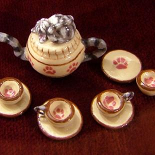 Art: Cozy Kitten Tea Set by Artist Camille Meeker Turner
