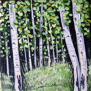 Art: Three Small Aspen Paintings by Artist Diane Funderburg Deam