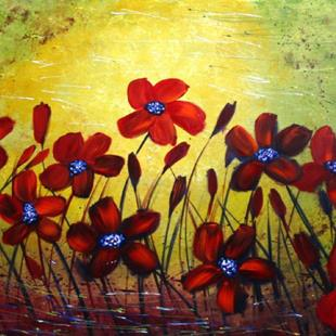 Art: RED WILD FLOWERS by Artist LUIZA VIZOLI
