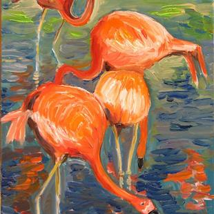 Art: Pink Flamingos by Artist Luda Angel
