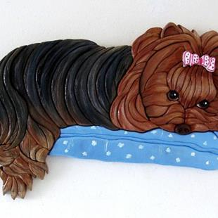 Art: MITZY  YORKSHIRE TERRIER PAINTED INTARSIA ART by Artist Gina Stern