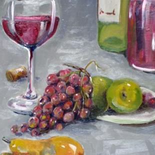 Art: WIne and Fruit by Artist Delilah Smith