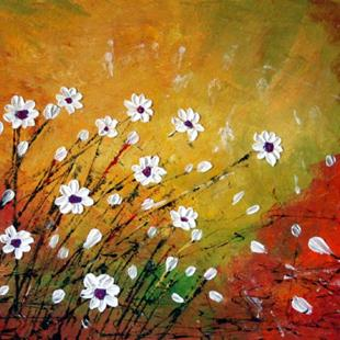 Art: WILDFLOWERS FIELD Impasto Oil by Artist LUIZA VIZOLI